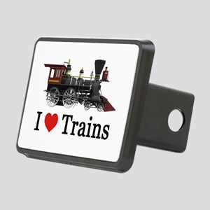 I LOVE TRAINS Rectangular Hitch Cover
