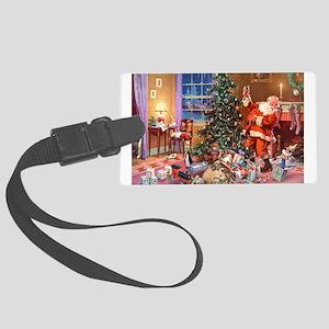 SANTA CLAUS ON CHRISTMAS EVE Large Luggage Tag