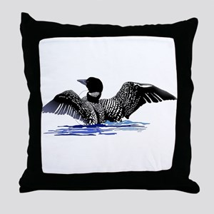 loon on lake Throw Pillow