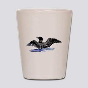 loon on lake Shot Glass