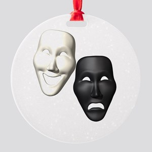 MASKS OF COMEDY & TRAGEDY Round Ornament
