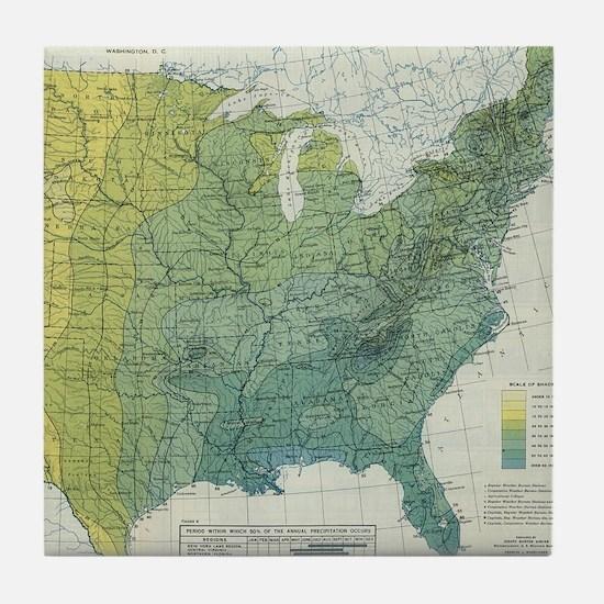 Vintage United States Precipitation M Tile Coaster