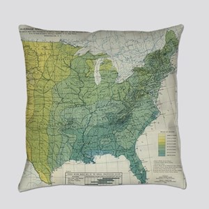 Vintage United States Precipitatio Everyday Pillow