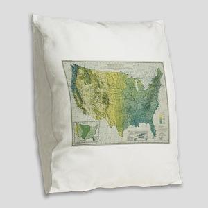 Vintage United States Precipit Burlap Throw Pillow