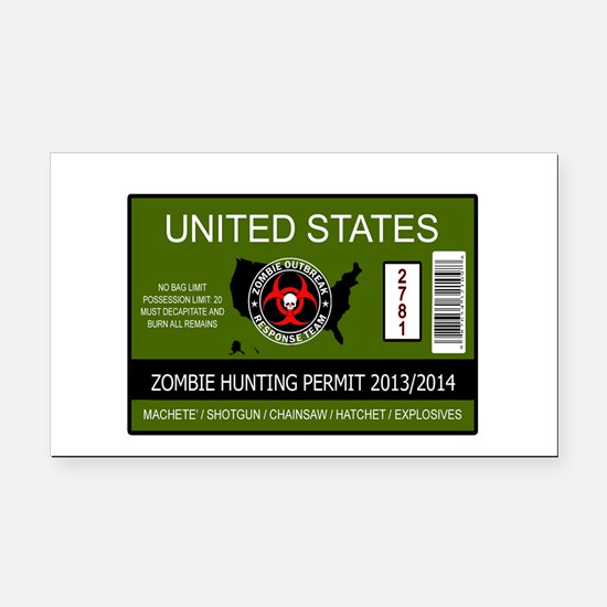 zombie permit rectangle Rectangle Car Magnet