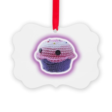 Yarn Cupcake Picture Ornament