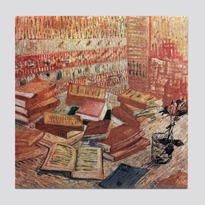 Van Gogh French Novels and Rose Tile Coaster