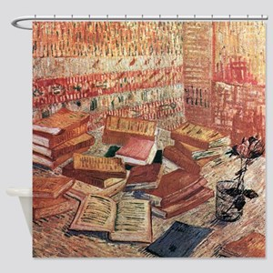 Van Gogh French Novels and Rose Shower Curtain