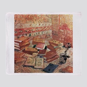 Van Gogh French Novels and Rose Throw Blanket