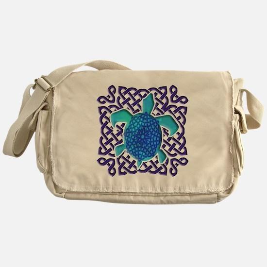 Celtic Knot Turtle (Blue) Messenger Bag