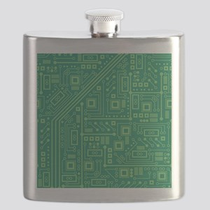 Green Circuit Board Flask