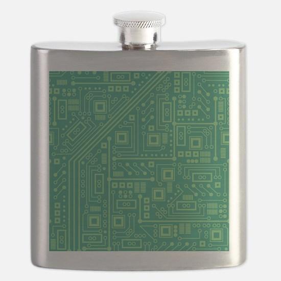 Green Circuit Board Flask