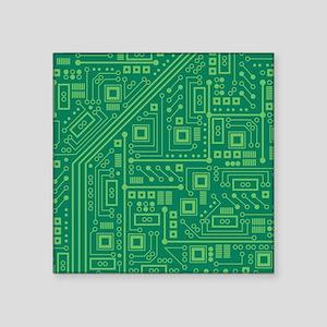 """Green Circuit Board Square Sticker 3"""" x 3"""""""