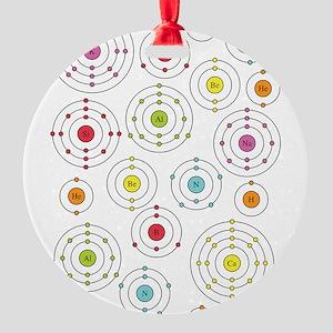 periodic shells fabric Round Ornament