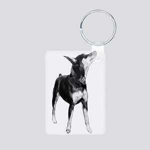 Miniature Pinscher Sketch Aluminum Photo Keychain