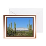 Snowy Four Peaks with Border Greeting Cards (Pk of