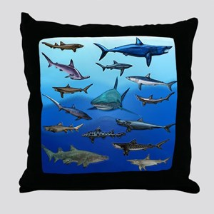 Shark Gathering Throw Pillow