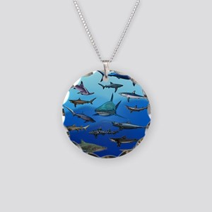 Shark Gathering Necklace Circle Charm