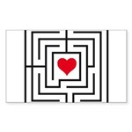 heart labyrinth Sticker (Rectangle)