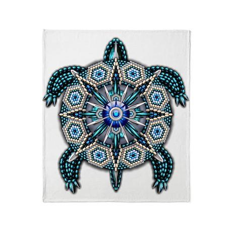 Native American Turtle 01 Throw Blanket