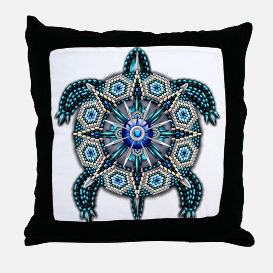 Native American Turtle 01 Throw Pillow