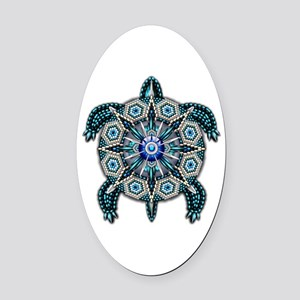 Native American Turtle 01 Oval Car Magnet