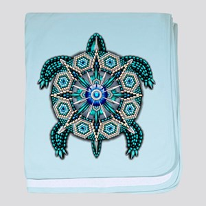 Native American Turtle 01 baby blanket