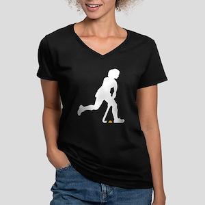 female hockey player Women's V-Neck Dark T-Shirt
