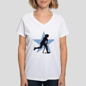 female hockey player Women's V-Neck T-Shirt
