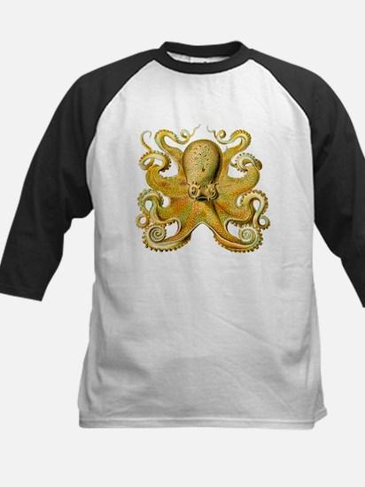 Yellow Octopus Kids Baseball Jersey