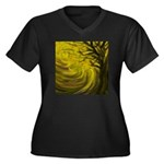 forest #3DA Women's Plus Size V-Neck Dark T-Shirt