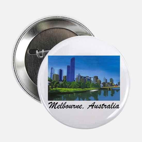 Melbourne Skyline Painting Button/Badge