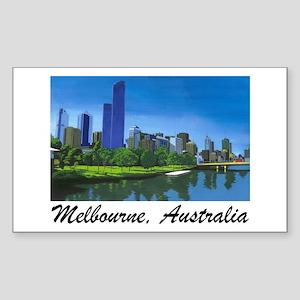 Melbourne Skyline Painting Rectangle Sticker