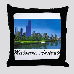 Melbourne Skyline Painting Throw Pillow