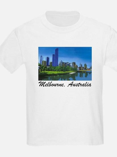 Melbourne Skyline Painting Kids T-Shirt