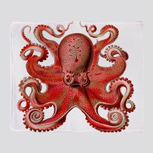 Red Octopus Throw Blanket