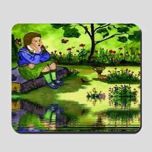 Girl Thinking Reflection Mousepad