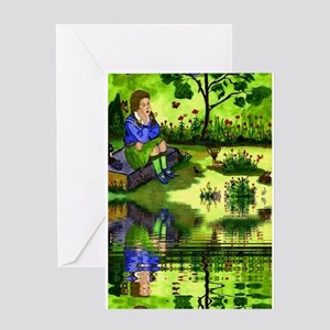 Girl Thinking Reflection Greeting Card