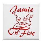 Jamie On Fire Tile Coaster