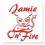 Jamie On Fire Square Car Magnet 3