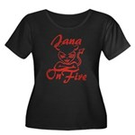 Jana On Fire Women's Plus Size Scoop Neck Dark T-S