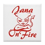 Jana On Fire Tile Coaster
