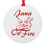 Jana On Fire Round Ornament