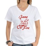 Jane On Fire Women's V-Neck T-Shirt