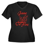 Jane On Fire Women's Plus Size V-Neck Dark T-Shirt