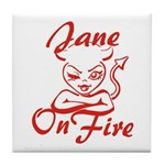 Jane On Fire Tile Coaster