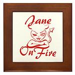 Jane On Fire Framed Tile
