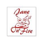 Jane On Fire Square Sticker 3