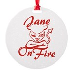 Jane On Fire Round Ornament