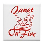 Janet On Fire Tile Coaster